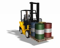 Fork lift loading 4 barrels Stock Photo