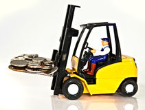 Fork lift and money royalty free stock photos