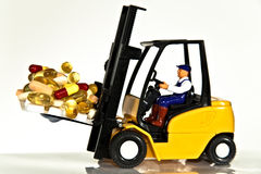 Fork lift and tablets Stock Photos