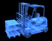 Fork lift truck, with cardboards Royalty Free Stock Image