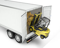 Fork lift truck falling from semi trailer Royalty Free Stock Photos