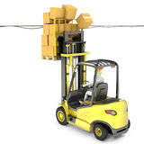 Fork lift truck with high load hits wires Royalty Free Stock Image