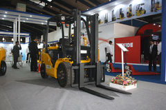 Fork Lift Truck at India Warehousing Show 2011. Fork Lift Truck on India Warehousing & Logistics Show Royalty Free Stock Photo