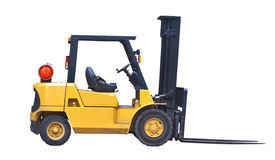 Fork lift truck isolated on white royalty free stock image