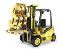 Fork lift truck lifts gold dollar sign. On white background Royalty Free Stock Image
