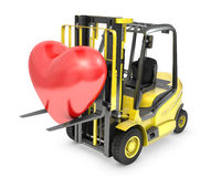 Fork lift truck lifts red heart Royalty Free Stock Photos