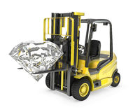 Fork lift truck lifts round cut diamond Royalty Free Stock Photo