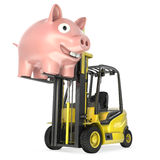 Fork lift truck lifts up coin bank Royalty Free Stock Photography