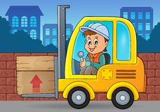 Fork lift truck theme image 3 Royalty Free Stock Photos