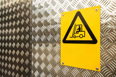 Fork lift truck warning sign Stock Photo