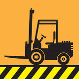 Fork lift truck at work sign or symbol Royalty Free Stock Photography