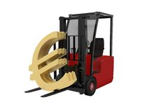 Fork lift. On white background Royalty Free Stock Photography