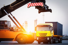 Fork lifter and container,logistic Royalty Free Stock Photography