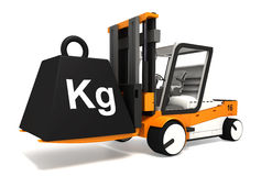 Fork lifter lifting black weight Royalty Free Stock Photography