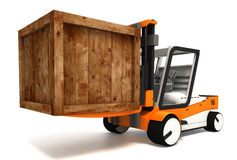 Fork lifter transporting wooden crate Stock Images
