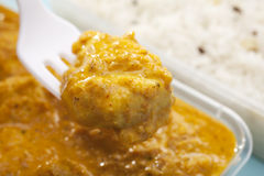Fork Lifting Takeaway Indian Food Chicken Stock Image