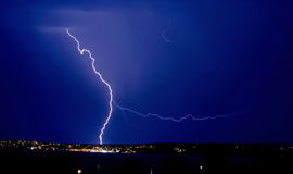 Fork Lightning above the Harbour in Torquay , Devon Royalty Free Stock Photography