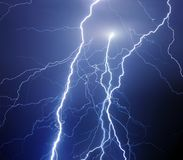 Fork lightning during night storm royalty free stock photos