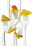 Fork with macaroni and spaghetti Royalty Free Stock Images