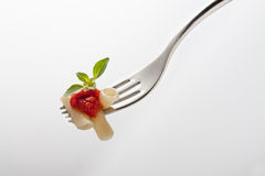 Fork with macaroni and tomato Stock Photo