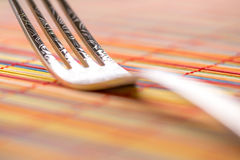 Fork Macro. Colored horizontal background Stock Photography