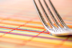 Fork Macro horizontal. Detailed right background Royalty Free Stock Images