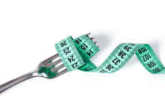 Fork with measuring tape Royalty Free Stock Image