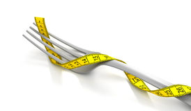 Fork with measuring tape Stock Image