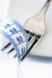 Fork and Metric Tape Measure. Fork resting on plate with metric tape measure wrapped in its tines, and copy space Royalty Free Stock Photo