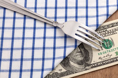 Fork with money Stock Photos
