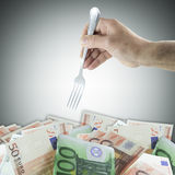 Fork and money Royalty Free Stock Photography
