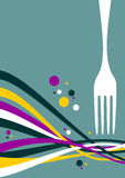 Fork with multicolored waves background Royalty Free Stock Photography