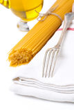 Fork, napkin, pasta and olive oil,  Stock Photos
