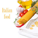 Fork, napkin, pasta and spices  Royalty Free Stock Image