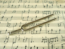 Fork on old sheet music Royalty Free Stock Photography