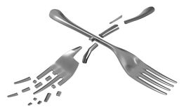 Fork One Break. Metal, 3d illustration, horizontal, isolated, over white Royalty Free Stock Photos