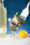 Fork with oyster Royalty Free Stock Photography