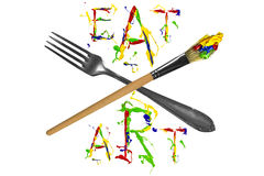 Fork, paintbrush and colorful slogan Stock Images