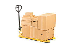 A fork pallet truck stacker with stack of boxes Stock Image