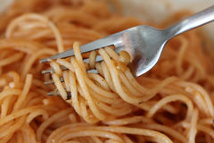 Fork with pasta Stock Photos