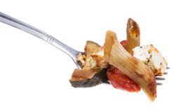 Fork with Pasta Bake on white Stock Photo