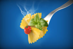 Fork with pasta farfalle Royalty Free Stock Image