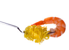Fork with pasta and shrimp Stock Photo