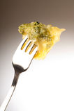 Fork with pesto ravioli Stock Image