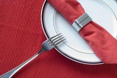 Fork, placa y servilleta Foto de archivo
