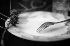 Fork in plate black white Royalty Free Stock Photos