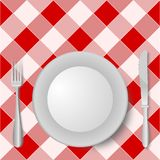 Fork Plate Knife. Illustration of fork, plate and knife on a  red and white picnic tablecloth Stock Images
