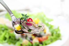 Fork with a portion of oyster salad Royalty Free Stock Photography