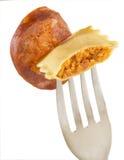 Fork ravioli Stock Photos