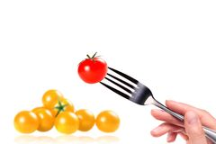 Fork with red and yellow Fresh tomato Royalty Free Stock Photos